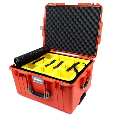 Pelican 1607 Air Colors Series, Orange Rolling Air Case with Desert Tan Handles & Latches, Customizable Accessory Bundles