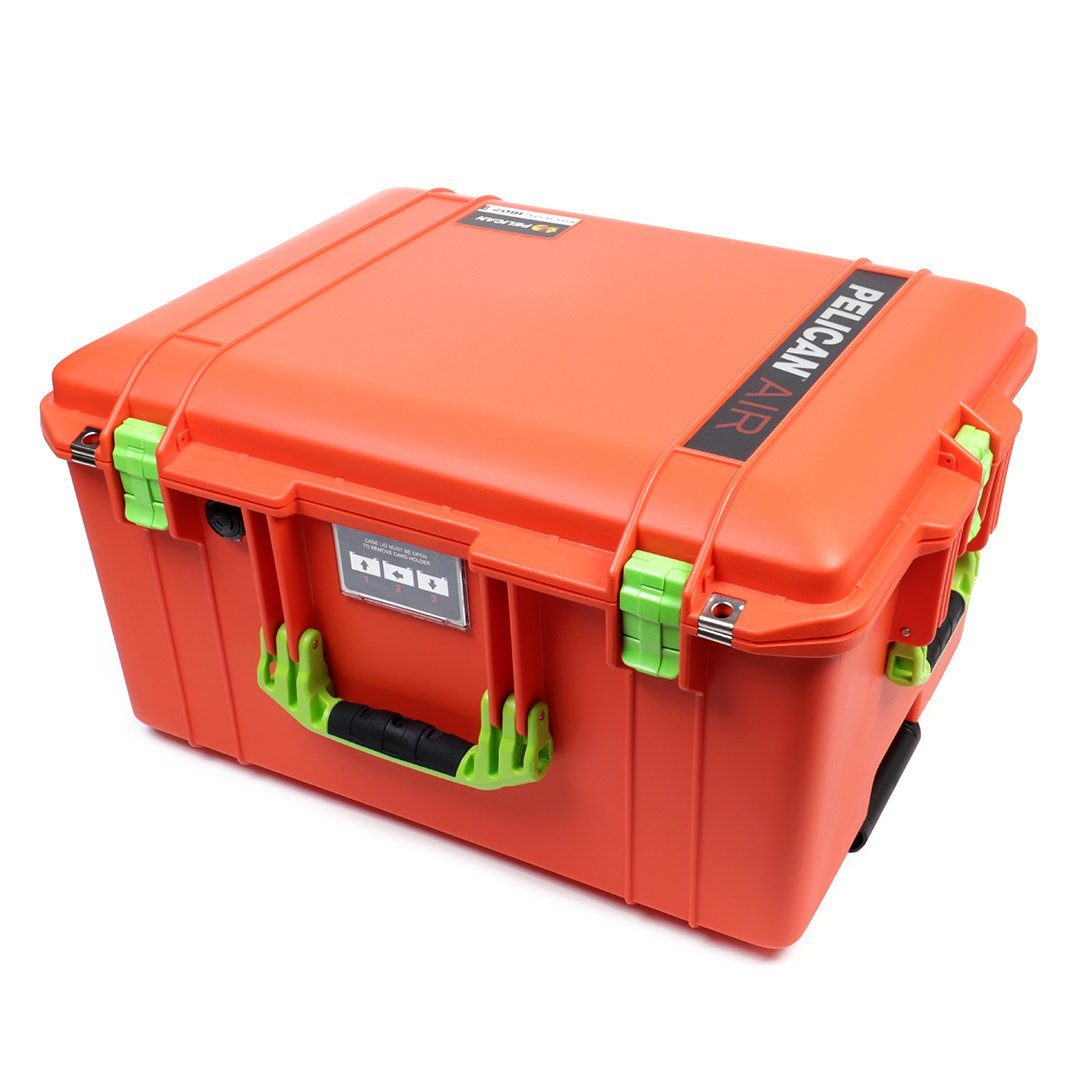 Pelican 1607 Air Colors Series, Orange Rolling Air Case with Lime Green Handles & Latches, Customizable Accessory Bundles