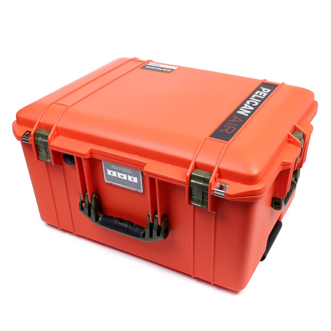 Pelican 1607 Air Colors Series, Orange Rolling Air Case with OD Green Handles & Latches, Customizable Accessory Bundles