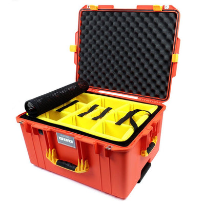 Pelican 1607 Air Case, Orange with Yellow Handles & Latches - Pelican Color Case