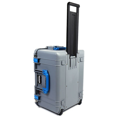 Pelican 1607 Air Case, Silver with Blue Handles & Latches - Pelican Color Case