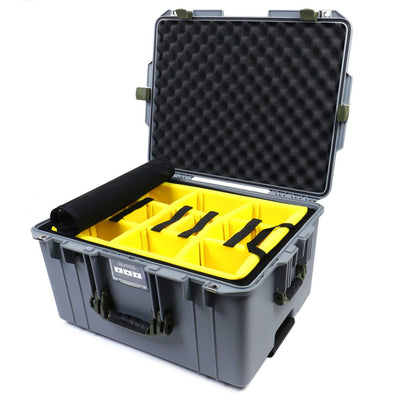 Pelican 1607 Air Case, Silver with OD Green Handles & Latches - Pelican Color Case