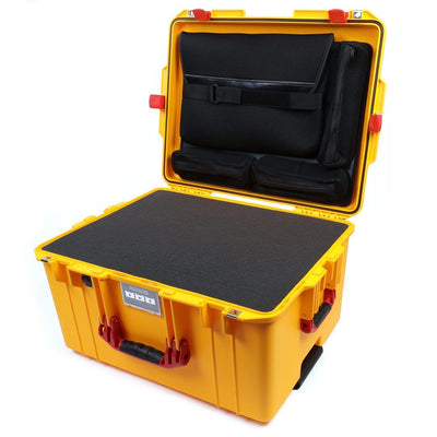Pelican 1607 Air Case, Yellow with Red Handles & Latches - Pelican Color Case