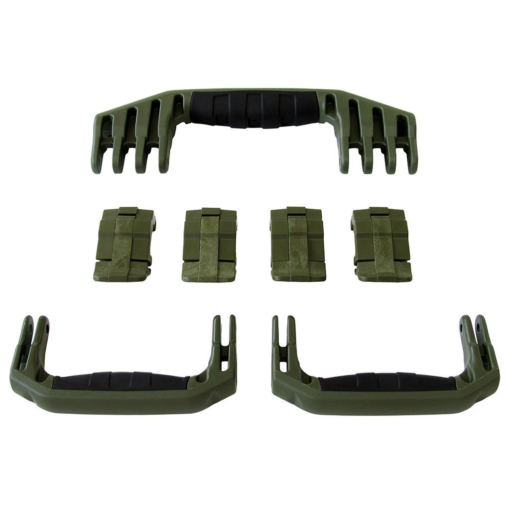 OD Green Replacement Handles & Latches for Pelican 1610 or 1620, 3 OD Green Handles, 4 OD Green Latches - Pelican Color Case