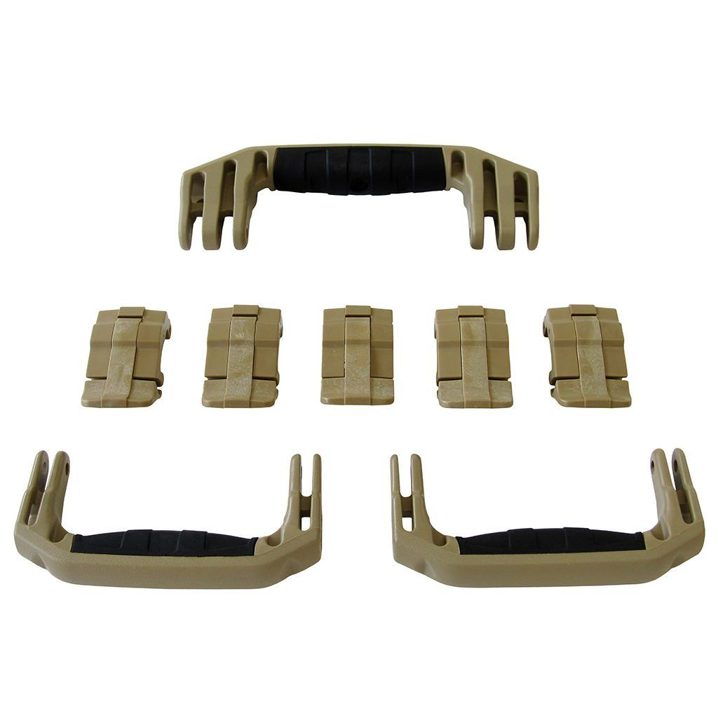 Desert Tan Replacement Handles & Latches for Pelican 1615 or 1637 Air, 3 Desert Tan Handles, 5 Desert Tan Latches - Pelican Color Case