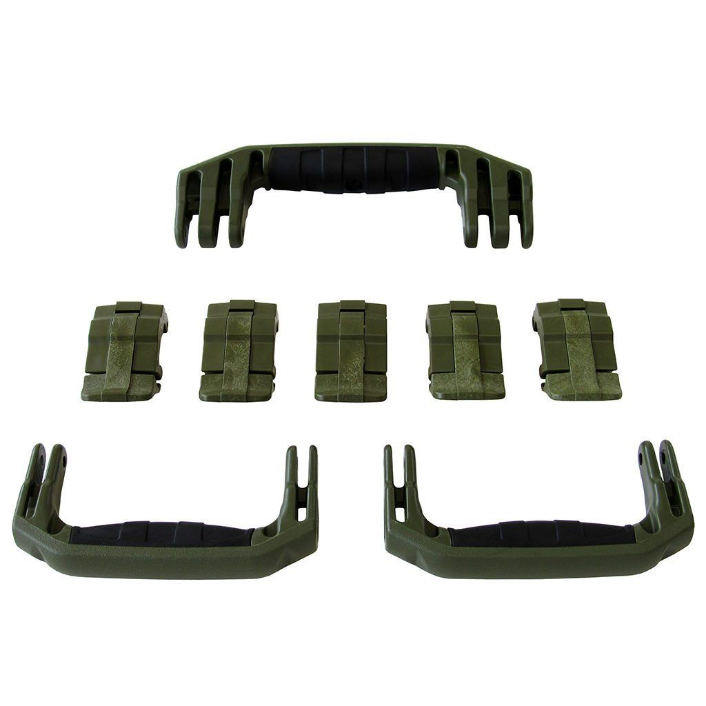OD Green Replacement Handles & Latches for Pelican 1615 or 1637 Air, 3 OD Green Handles, 5 OD Green Latches - Pelican Color Case