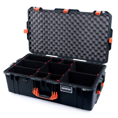 Pelican 1615 Air Colors Series, Black Travel Air Case with Orange Handles & Latches, Customizable Accessory Bundles