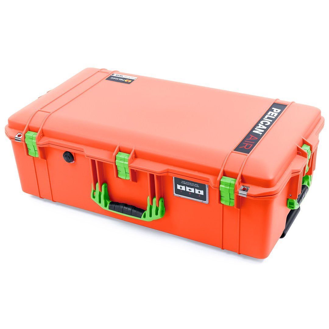 Pelican 1615 Air Case, Orange with Lime Green Handles & Latches