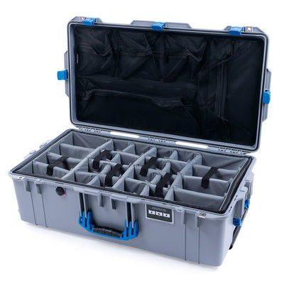 Pelican 1615 Air Case, Silver with Blue Handles & Latches - Pelican Color Case