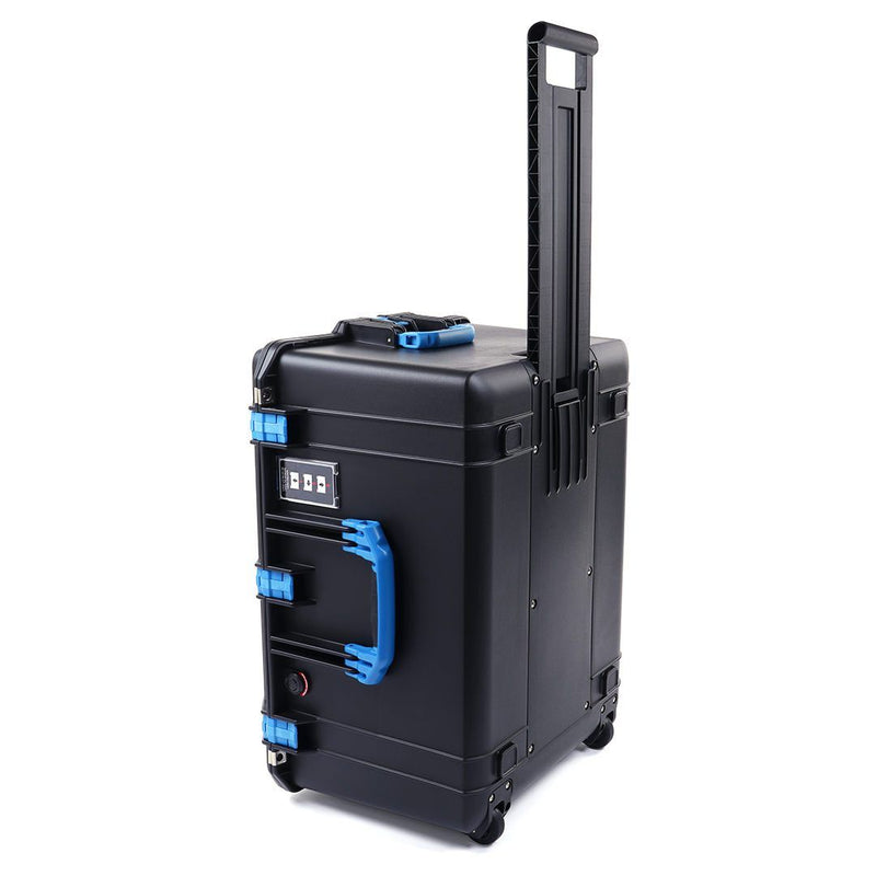 Pelican 1637 Air Colors Series, Black Rolling Air Case with Blue Handles & Latches, Customizable Accessory Bundles