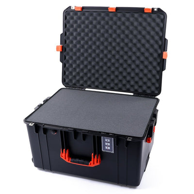 Pelican 1637 Air Colors Series, Black Rolling Air Case with Orange Handles & Latches, Customizable Accessory Bundles