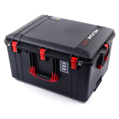 Pelican 1637 Air Colors Series, Black Rolling Air Case with Red Handles & Latches, Customizable Accessory Bundles