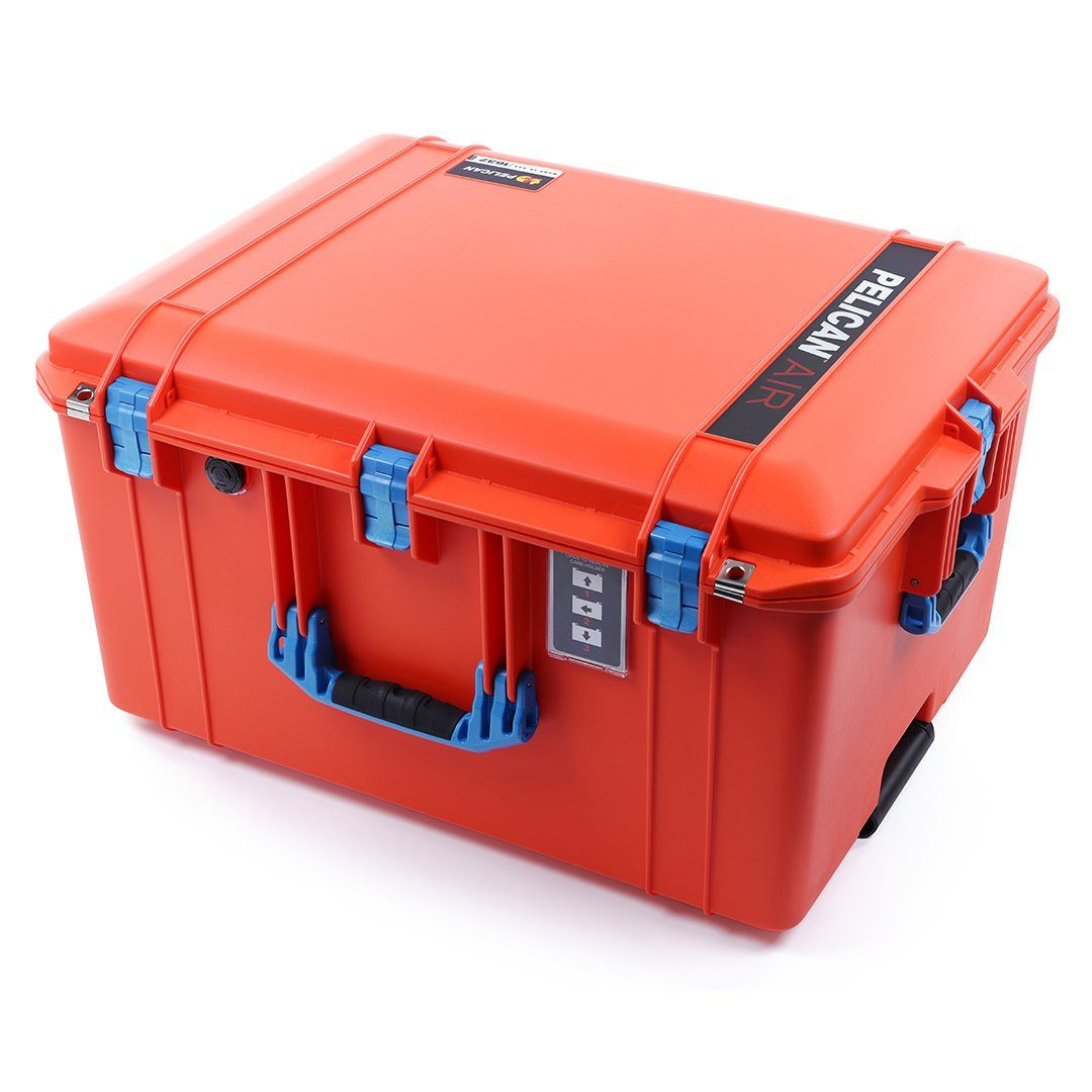 Pelican 1637 Air Case, Orange with Blue Handles & Latches