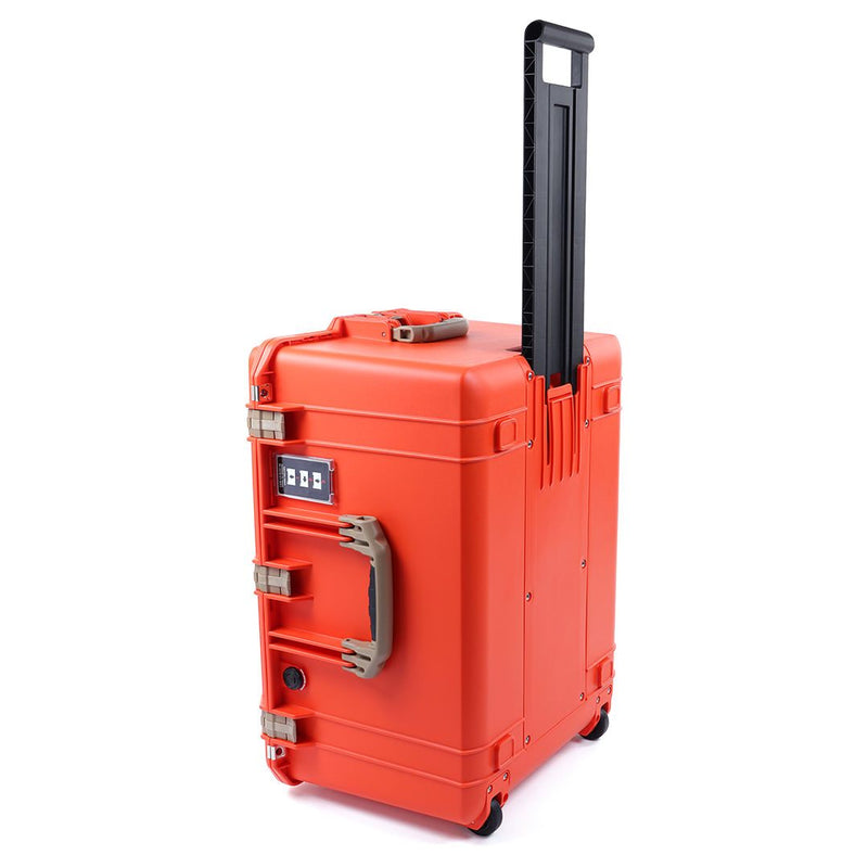 Pelican 1637 Air Colors Series, Orange Rolling Air Case with Desert Tan Handles & Latches, Customizable Accessory Bundles