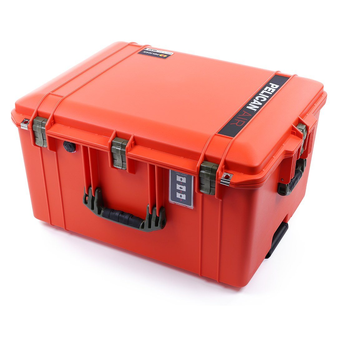 Pelican 1637 Air Colors Series, Orange Rolling Air Case with OD Green Handles & Latches, Customizable Accessory Bundles