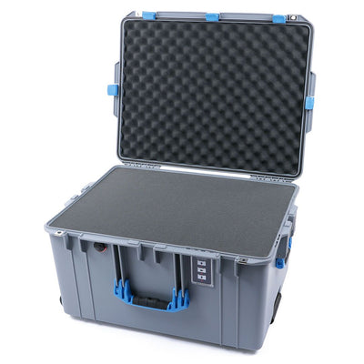 Pelican 1637 Air Case, Silver with Blue Handles & Latches - Pelican Color Case