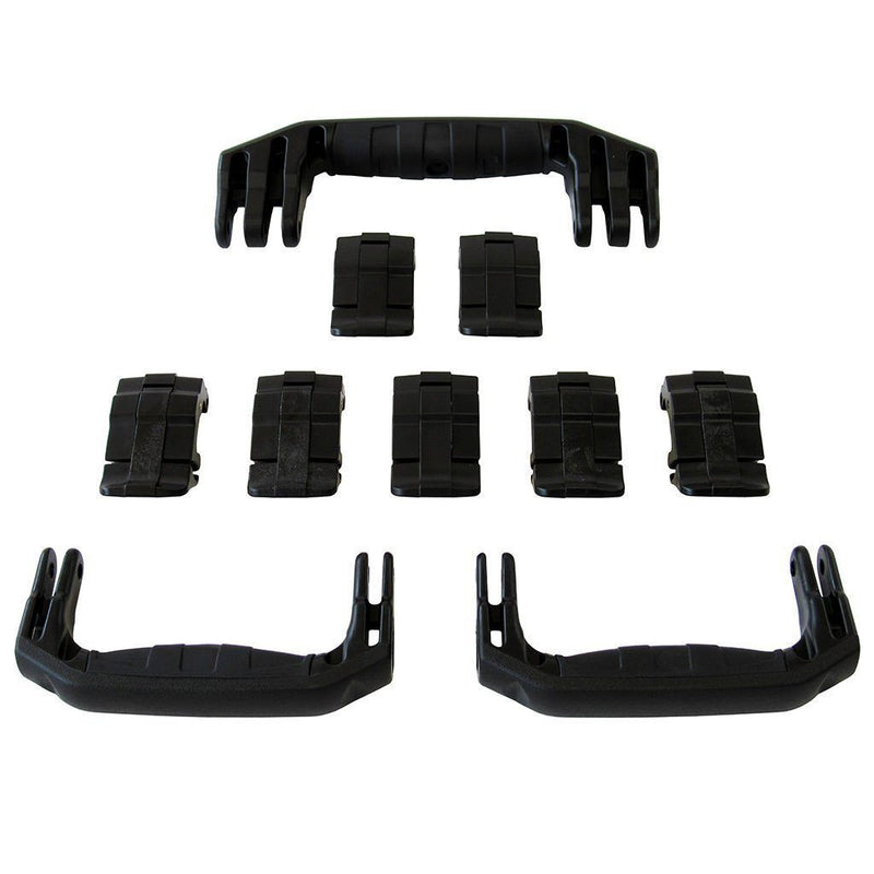Black Replacement Handles & Latches for Pelican 1650, 3 Black Handles, 7 Black Latches - Pelican Color Case