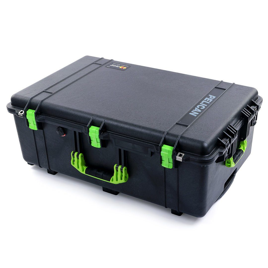 Pelican 1650 Case, Black with Lime Green Handles & Latches - Pelican Color Case