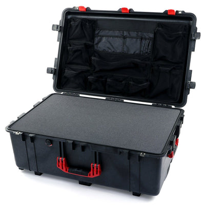 Pelican 1650 Case, Black with Red Handles & Latches - Pelican Color Case
