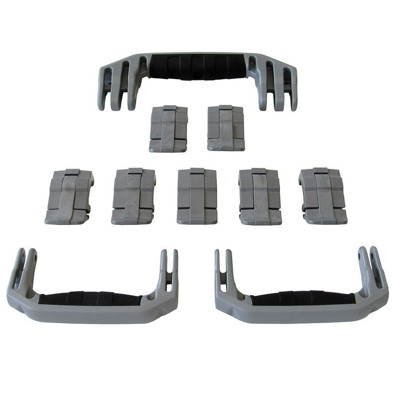Silver Gray Replacement Handles & Latches for Pelican 1650, 3 Silver Gray Green Handles, 7 Silver Gray Green Latches - Pelican Color Case