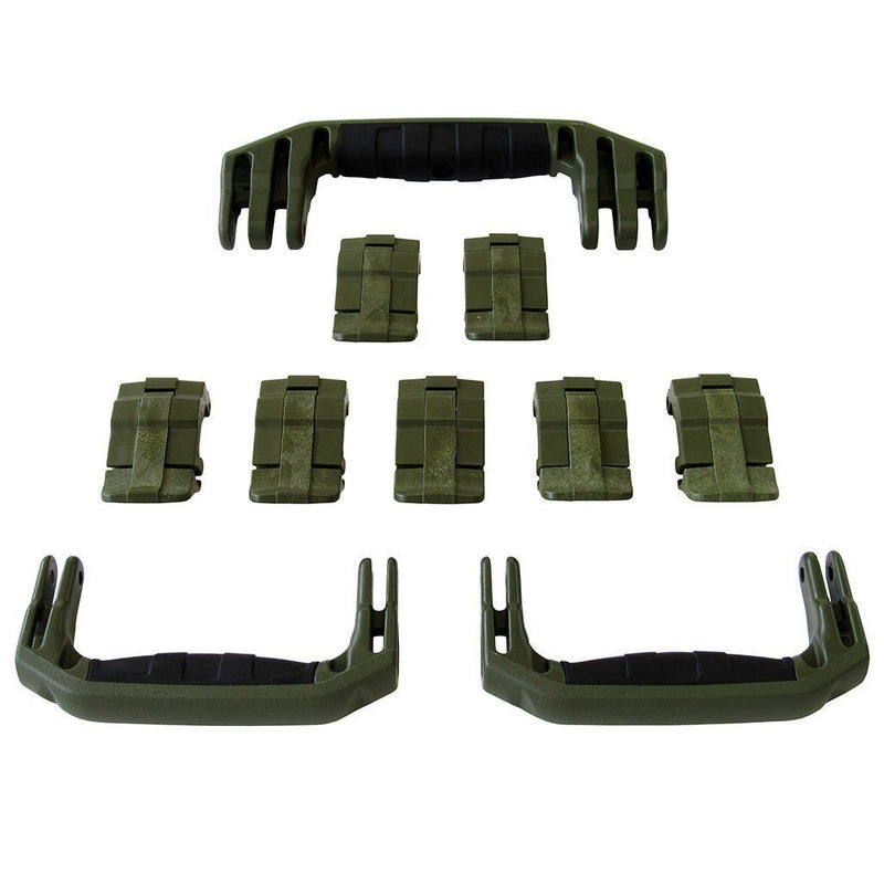 OD Green Replacement Handles & Latches for Pelican 1650, 3 OD Green Handles, 7 OD Green Latches - Pelican Color Case