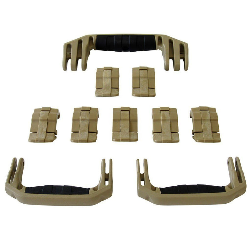 Desert Tan Replacement Handles & Latches for Pelican 1650, 3 Desert Tan Handles, 7 Desert Tan Latches - Pelican Color Case