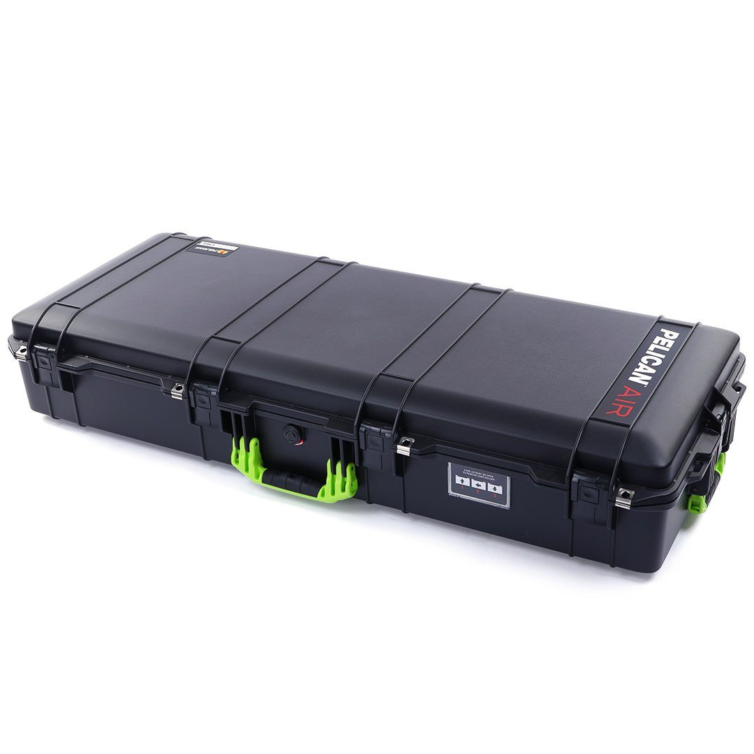 Pelican 1745 Air Case, Black with Lime Green Handles, Rolling - Pelican Color Case