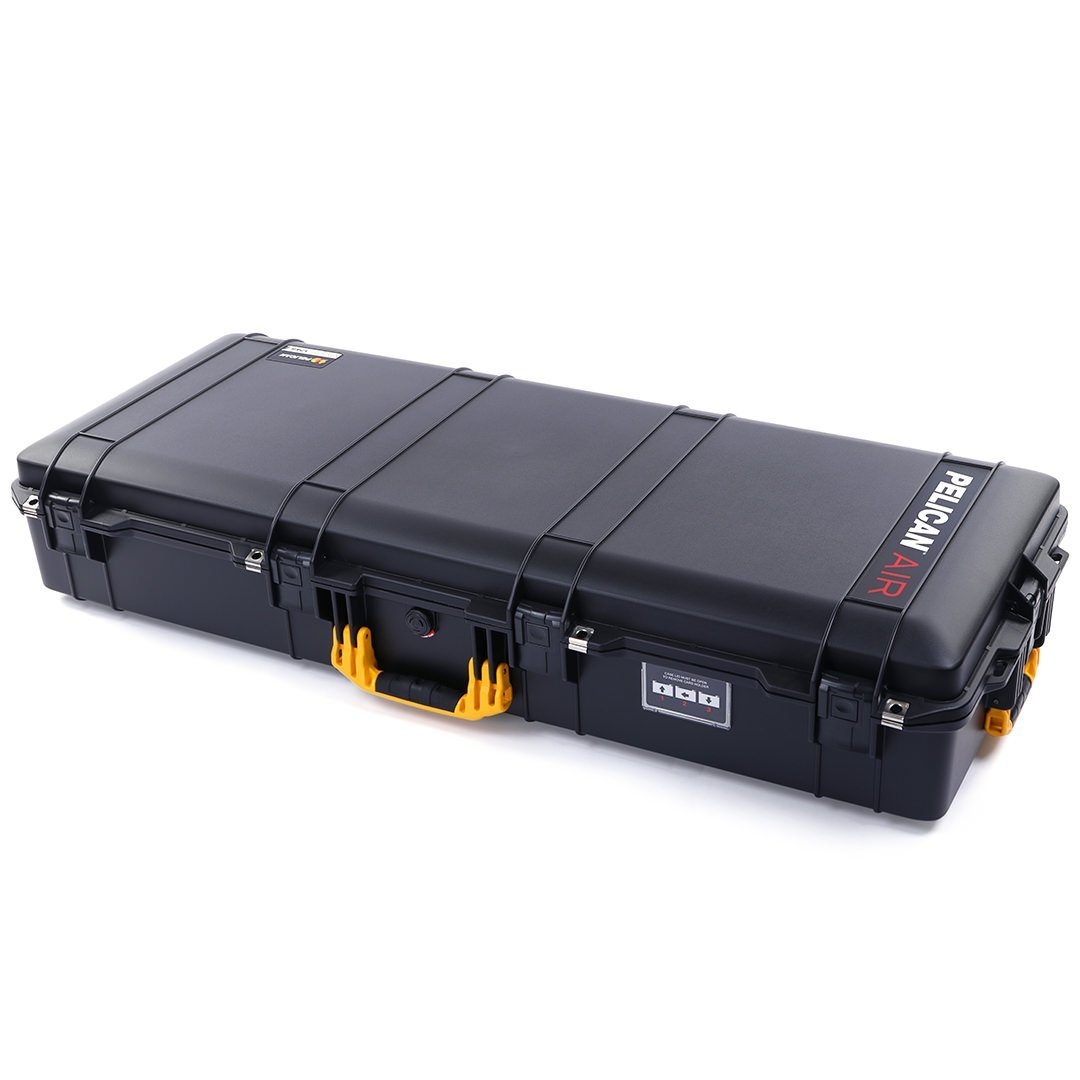Pelican 1745 Air Case, Black with Yellow Handles, Rolling - Pelican Color Case