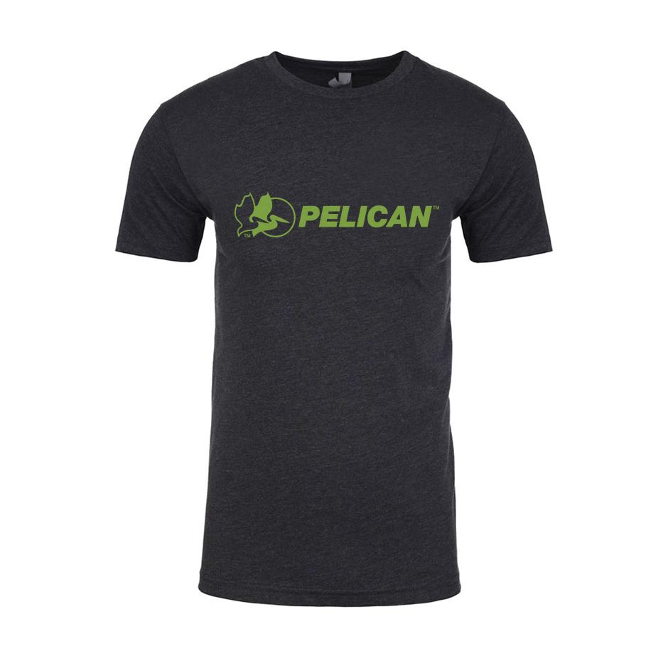 Pelican Lime Green Logo T-Shirt, Charcoal Gray, Cotton-Poly Blend