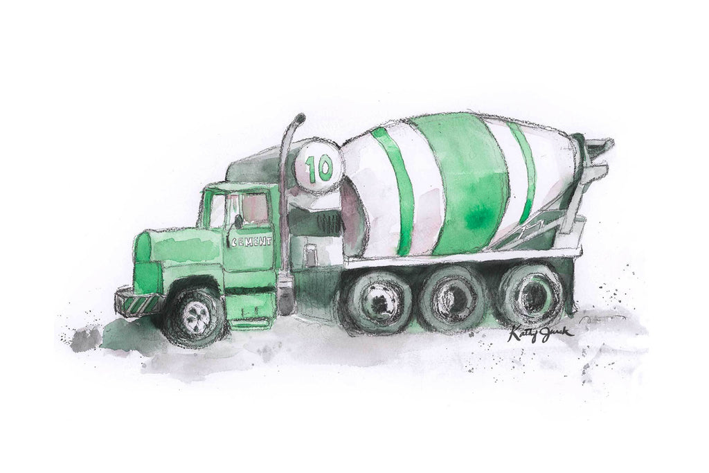 NEW Green Cement Mixer Print
