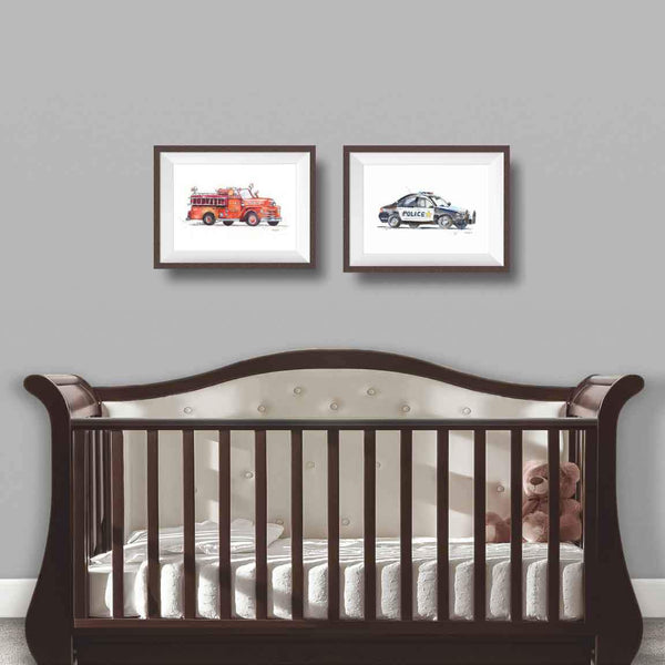police car nursery decor