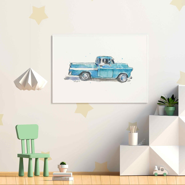 Turquoise Blue Pickup Truck Print