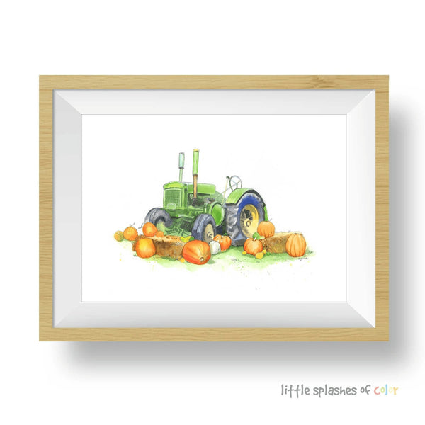 Green Tractor with Pumpkins Print