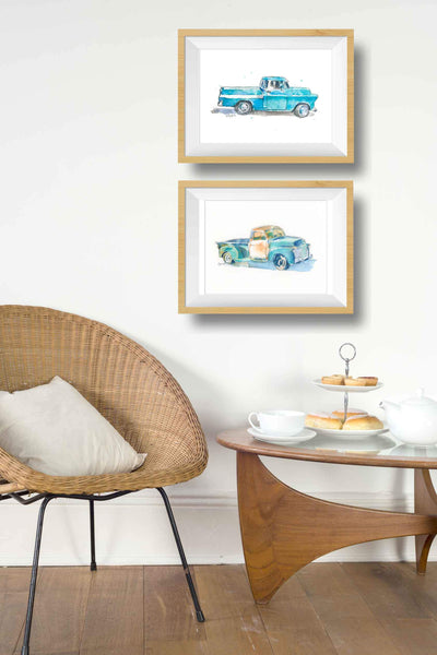 (Wholesale) Turquoise Blue Pickup Truck Art Print #1