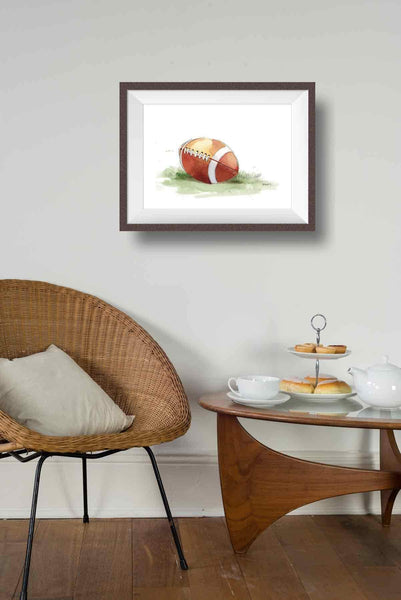 watercolor football wall decor