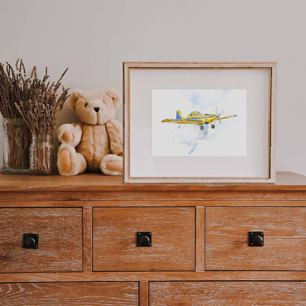 Cropduster Airplane Watercolor Print