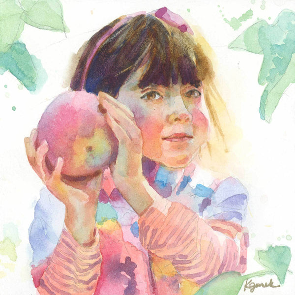 custom watercolor portrait girl