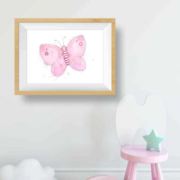 pink butterfly wall decor