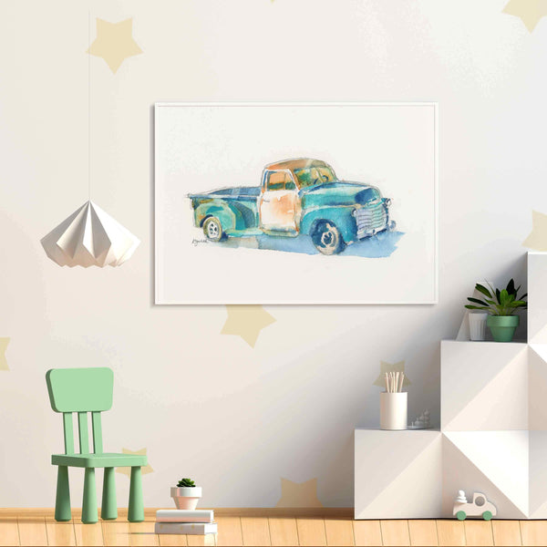 Turquoise Pickup Truck Print #1