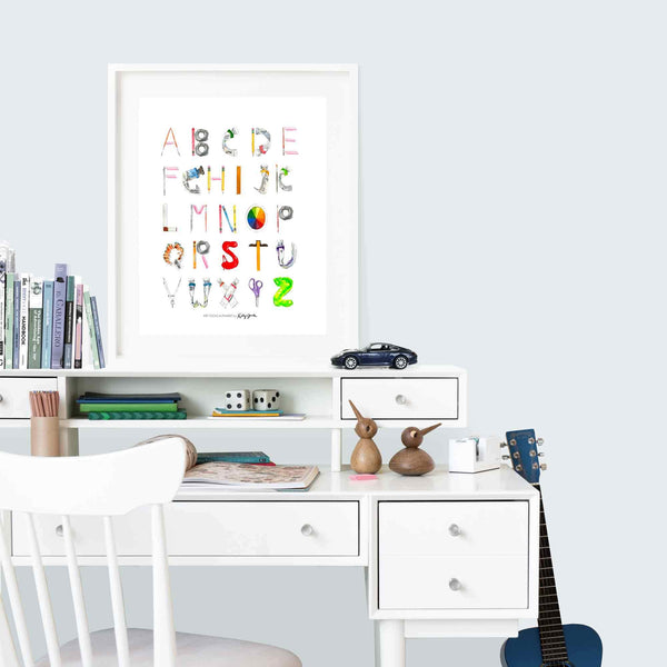 Watercolor Tools Alphabet Art Print