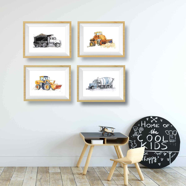 Blue Gray Cement Mixer Truck Print
