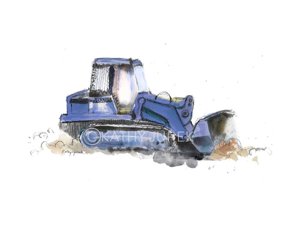 blue bulldozer art print
