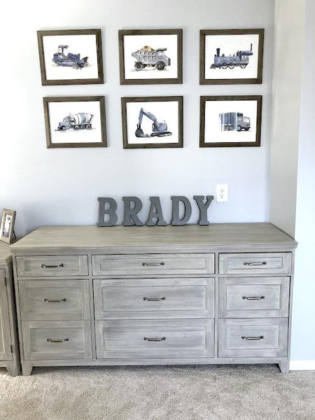 blue gray wall art boys