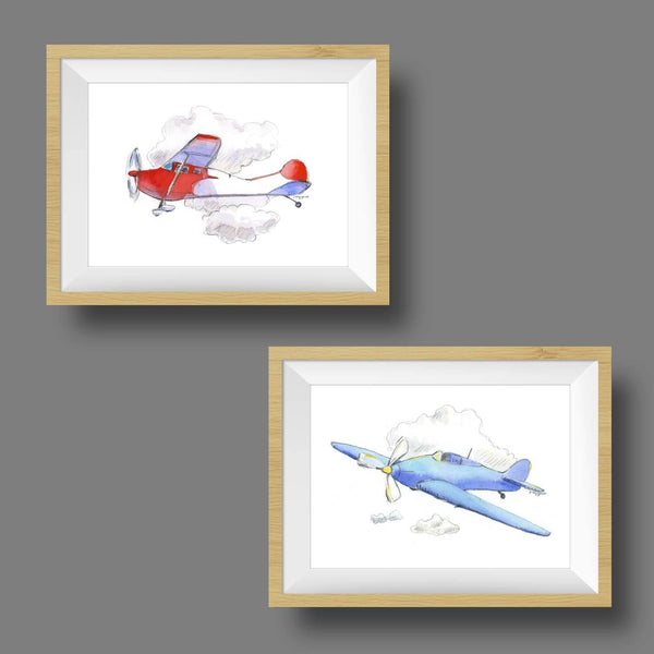 children's airplane wall art prints