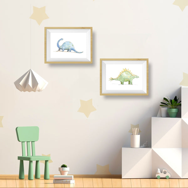 Orange Stegosaurus Art Print