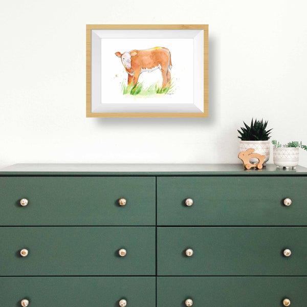 Cow art print kids room