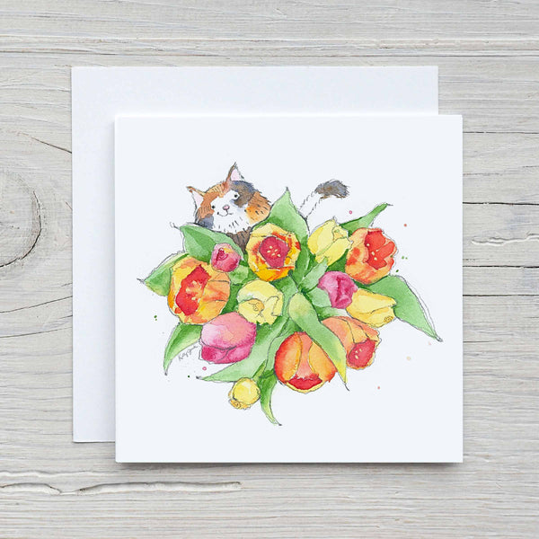 calico cat with flowers greeting card
