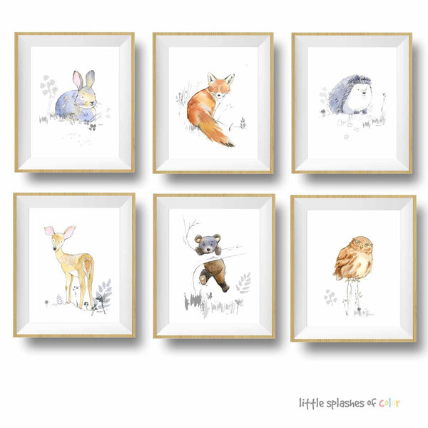 woodland animals wall art set