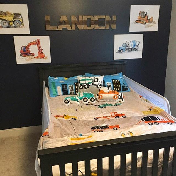 boys construction wall decor
