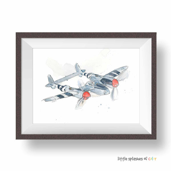 p38 airplane print for boys room